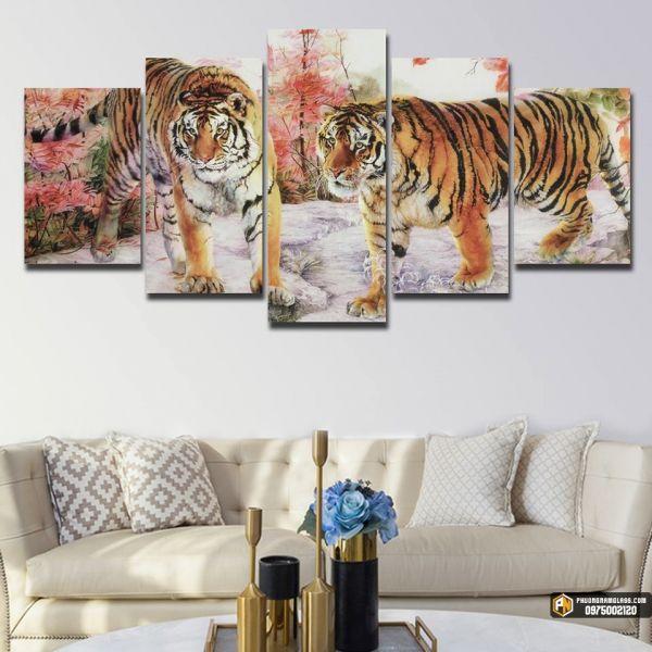 Tranh kính chia bộ hình hổ