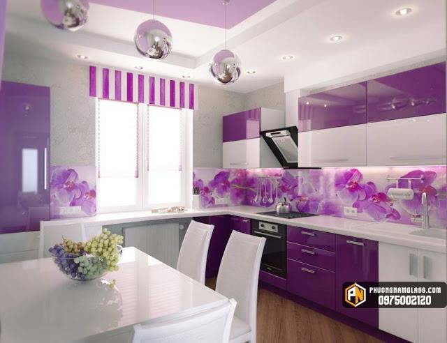 Mẫu kính ốp bếp 3d màu hồng