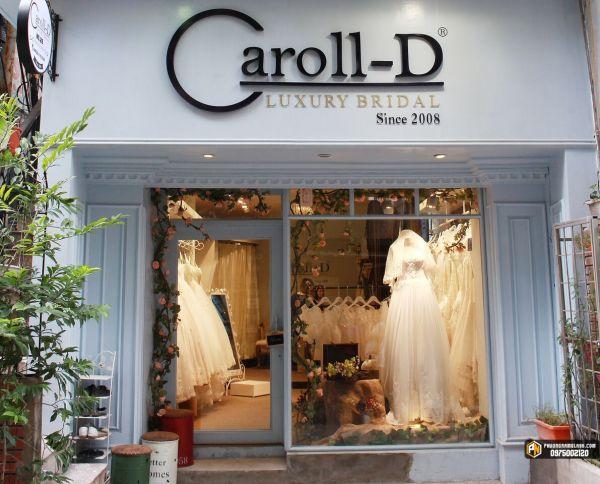 Cửa kính cường lực + vách kính mặt tiền tiệm áo cưới