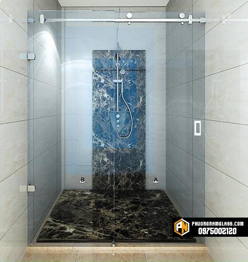 phòng tắm kính cửa lùa treo